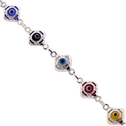 Sterling Silver Multicolor Evil Eye Womens Bracelet 8 mm 7.75 inches