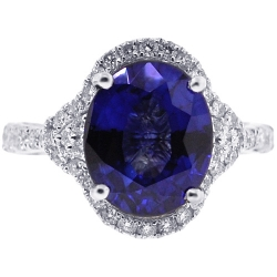 14K White Gold 6.25 ct Oval Sapphire Diamond Womens Ring