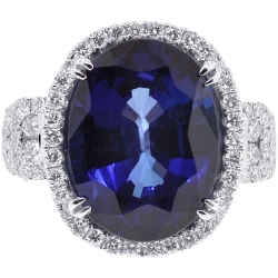 18K White Gold 24.52 ct Blue Sapphire Diamond Womens Ring