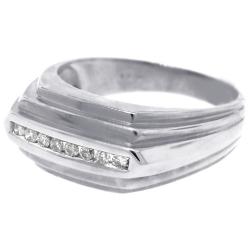 14K White Gold 0.22 ct Diamond Mens Step Ring