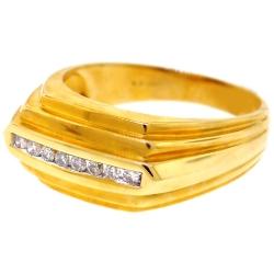 14K Yellow Gold 0.22 ct Diamond Mens Step Ring