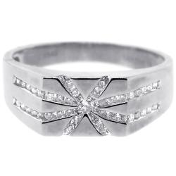 14K White Gold 0.45 ct Diamond Mens Star Ring