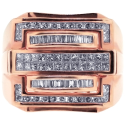 14K Rose Gold 1.30 ct Diamond Mens Signet Ring