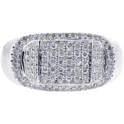 Mens Diamond Signet Ring 14K White Gold 0.85 ct