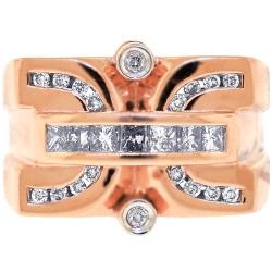 Mens Diamond Signet Ring 14K Rose Gold 1.33 ct
