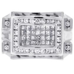 Mens Princess Diamond Signet Ring 14K White Gold 1.27 ct