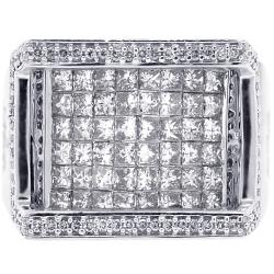Mens Princess Diamond Ring 14K White Gold 2.48 ct