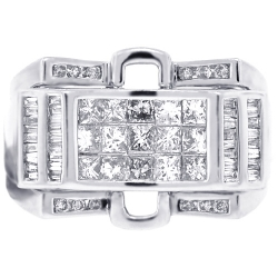 Mens Diamond Signet Ring 14K White Gold 1.63 ct