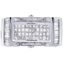 Mens Diamond Cocktail Signet Ring 14K White Gold 1.26 ct