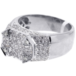 Mens Diamond High Signet Ring 14K White Gold 1.91 ct
