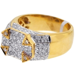 Mens Diamond High Signet Ring 14K Yellow Gold 1.91 ct
