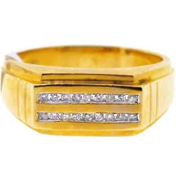 Mens Double Row Diamond Wedding Band 14K Yellow Gold 0.20 ct