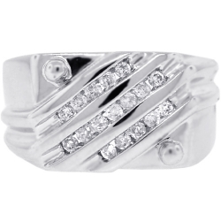 Mens Diamond Anniversary Slant Ring 14K White Gold 0.42 ct