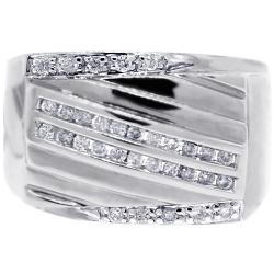 Mens Diamond Anniversary Ring 14K White Gold 0.44 ct