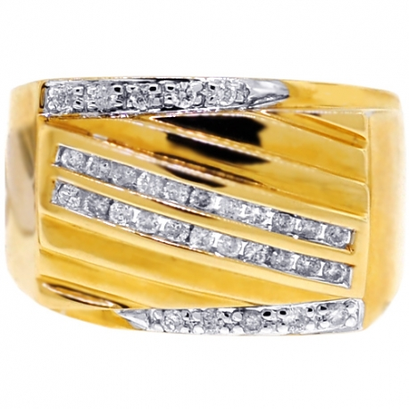 Mens Diamond Anniversary Ring 14K Yellow Gold 0.44 ct