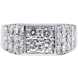 Mens Diamond Signet Ring 14K White Gold 1.66 ct