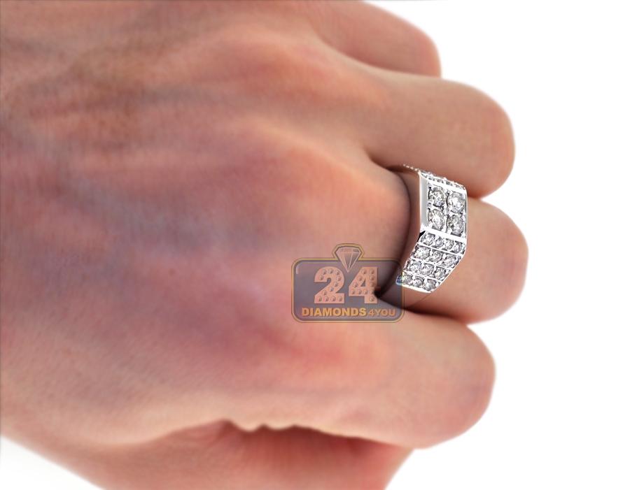 Mens Diamond Cluster Signet Ring 14k White Gold 1 66 Ct