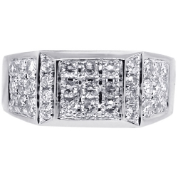Mens Diamond Signet Ring 14K White Gold 1.53 ct