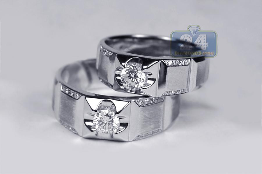 diamond bridal ring set for him her 18k white gold 087 ct - Diamond Wedding Ring Sets For Her