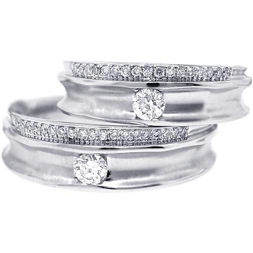 diamond wedding rings set for him her 18k white gold 053 ct - Diamond Wedding Rings For Her