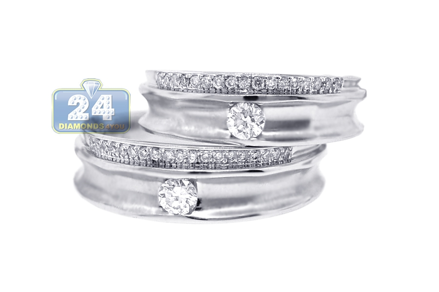 diamond wedding rings set for him her 18k white gold 053 ct - White Gold Wedding Rings Sets