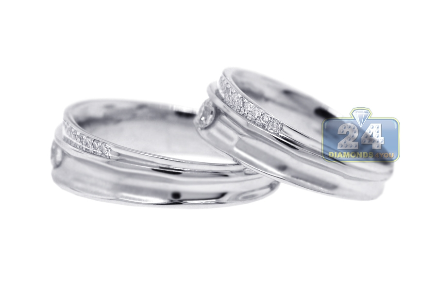 diamond wedding rings set for him her 18k white gold 053 ct - Wedding Ring Set For Her