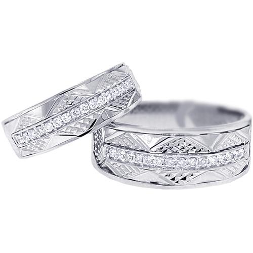 diamond wedding bands set for him her 18k white gold 033 ct - Diamond Wedding Rings For Her