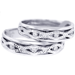 Diamond Two Wedding Bands Set 18K White Gold 0.14 ct