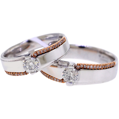Diamond Wedding Bands His Her Set 18K Two Tone Gold 0 93 ct