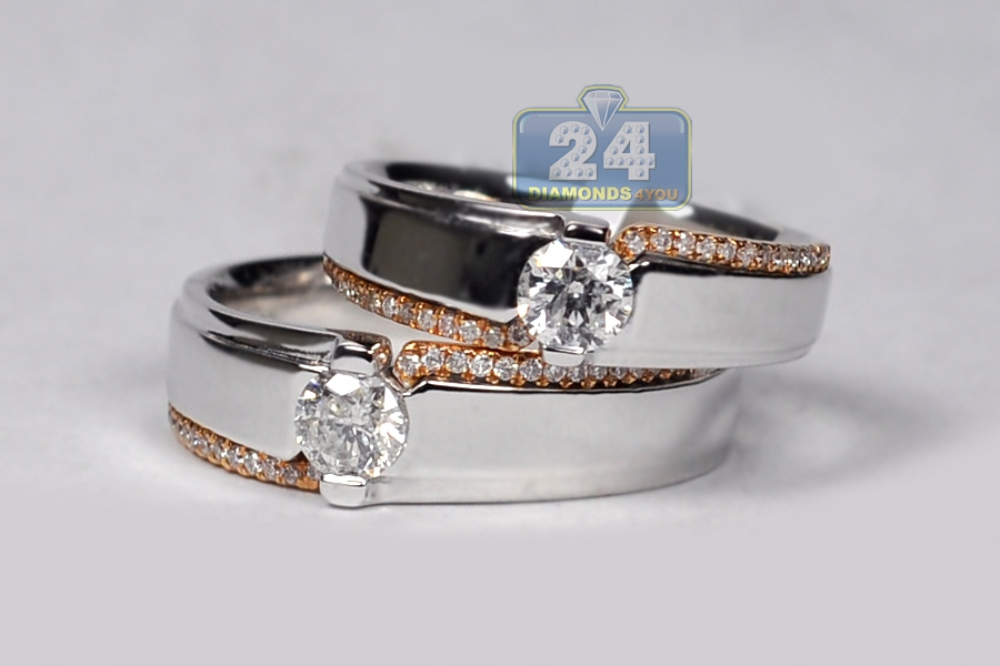 diamond wedding bands his her set 18k two tone gold 093 ct - Diamond Wedding Rings For Her
