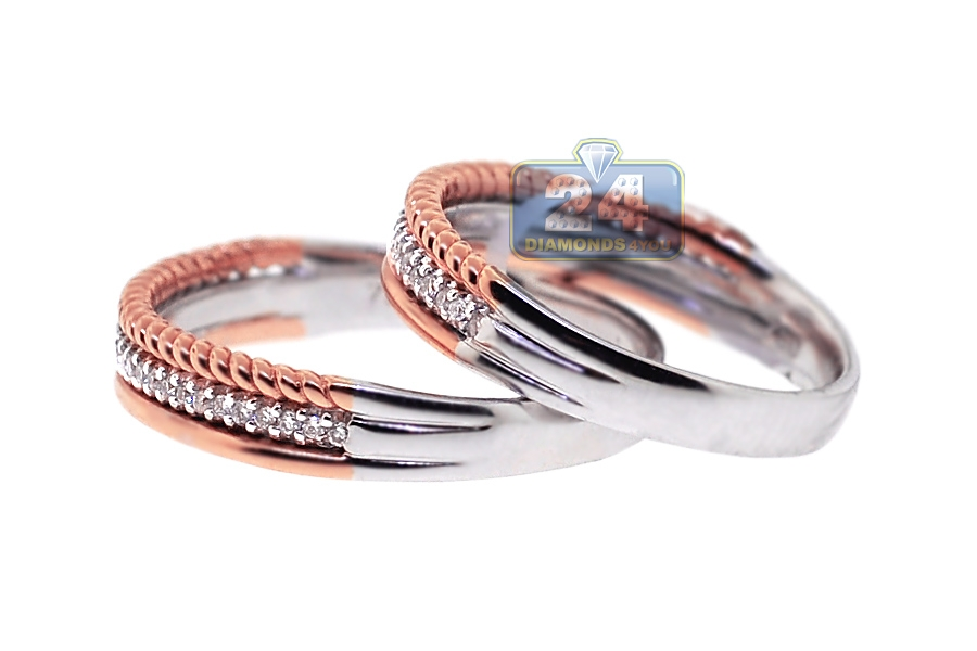diamond wedding rings his her set 18k two tone gold 028 ct - Wedding Rings His And Hers