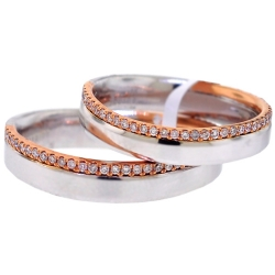 Diamond Bridal Bands His Her Set 18K Two Tone Gold 0.38 ct