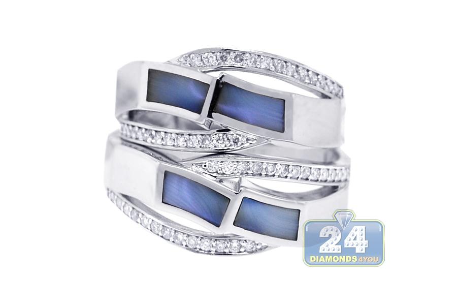 Diamond Opal Wedding Rings Set 18K White Gold 0 32 ct