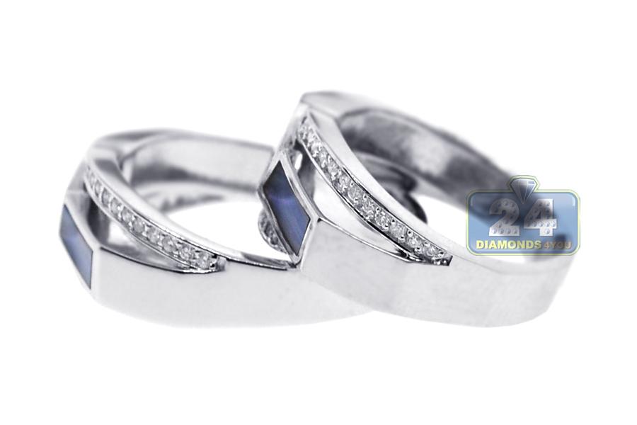 diamond opal wedding rings set 18k white gold 032 ct - White Gold Wedding Ring Sets