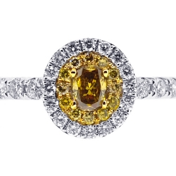 Womens Canary Diamond Engagement Ring 14K White Gold 0.84 ct
