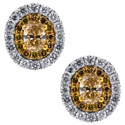 Womens Canary Diamond Stud Earrings 14K White Gold 1.25 ct