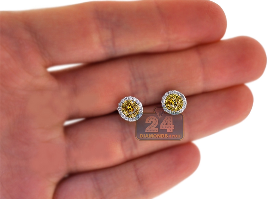 womens yellow diamond stud earrings 14k white gold 087 ct