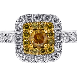 14K White Gold 0.91 ct Canary Diamond Womens Engagement Ring