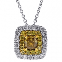 14K White Gold 0.74 ct Canary Diamond Womens Drop Necklace