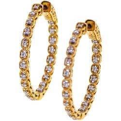 Womens Diamond Round Hoop Earrings 18K Yellow Gold 0.36 ct