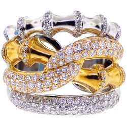Womens Diamond Bamboo Ring 18K Two Tone Gold 1.89 ct
