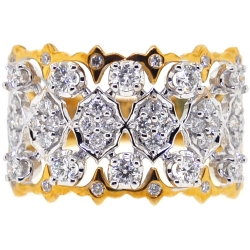 Womens Diamond Openwork Ring 18K Two Tone Gold 0.81 ct