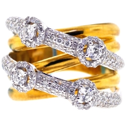 Womens Diamond Highway Ring 18K Two Tone Gold 1.35 ct