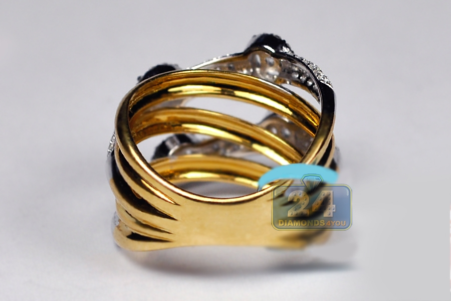 womens highway ring 18k two tone gold 1 35 ct