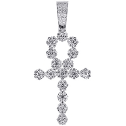 Mens Diamond Egyptian Ankh Cross Pendant 14K White Gold 2.85 ct