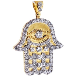 Mens Diamond Hamsa Hand Pendant 14K Yellow Gold 4.95 ct