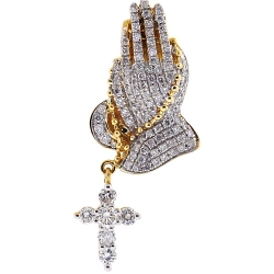 Mens Diamond Praying Hands Cross Pendant 14K Yellow Gold 1.23 ct