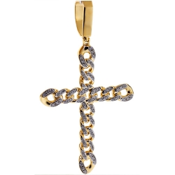 Mens Diamond Cuban Link Cross Pendant 14K Yellow Gold 1.15 ct