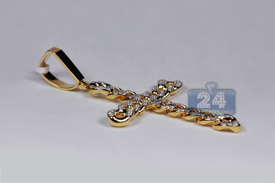 mens diamond cuban link cross pendant 14k yellow gold ct. Black Bedroom Furniture Sets. Home Design Ideas
