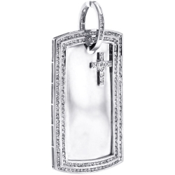 Mens Diamond Dog Tag ID Pendant 10K White Gold 3.03 ct